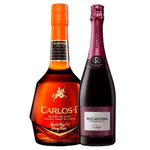 Brandy Carlos I 700 ml. + Vino Espumoso Riccadonna Ruby 750 ml.