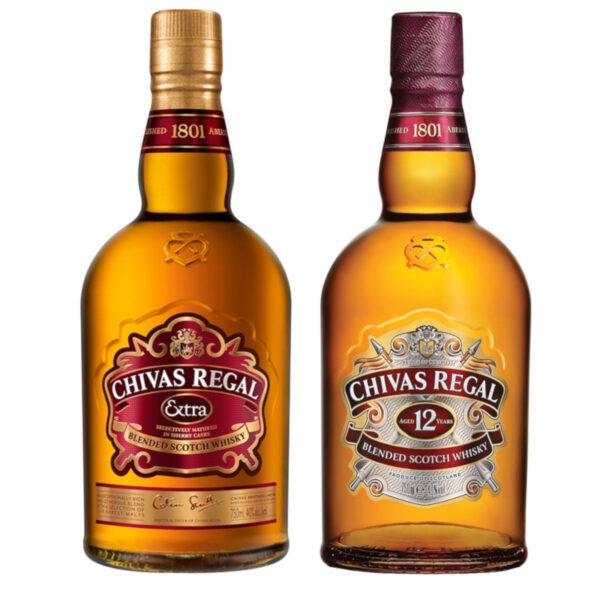 WHISKY CHIVAS EXTRA 750 ml. + WHISKY CHIVAS 12 750 ml.
