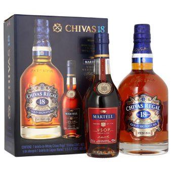 WHISKY CHIVAS REGAL 18 AÑOS 750 ml. + MARTELL VSOP 350 ml.