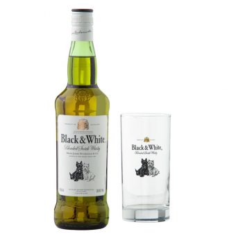 WHISKY BLACK AND WHITE 700 ml. + VASO
