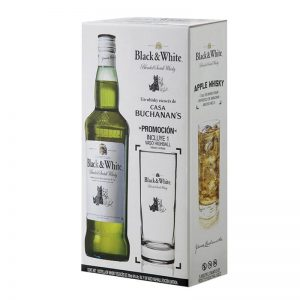 WHISKY BLACK AND WHITE 700 ml. + VASO