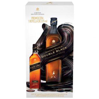 WHISKY JOHNNIE WALKER DOUBLE BLACK 750 ml. + BLACK LABEL 375 ml.