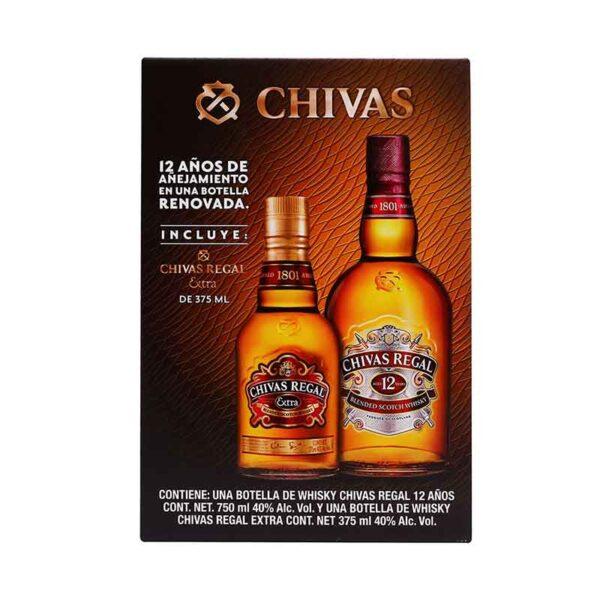 WHISKY CHIVAS REGAL 12 AÑOS 750 ml.+ CHIVAS EXTRA 375 ml.
