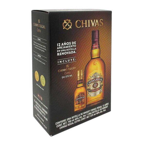 WHISKY CHIVAS REGAL 12 AÑOS 750 ml.+ CHIVAS EXTRA 375 ml.2222