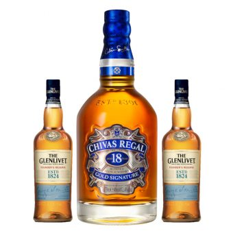 WHISKY CHIVAS REGAL 18 AÑOS 750 ml. + 2 GLENLIVET FOUNDERS 200 ml.