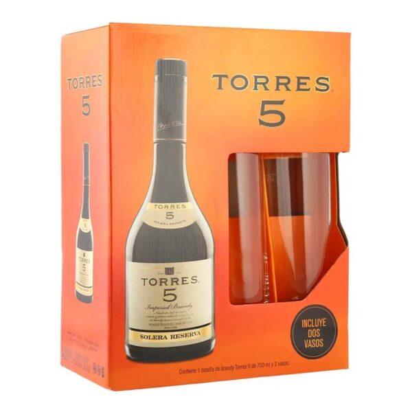 BRANDY TORRES 5 700 ml + 2 VASOS