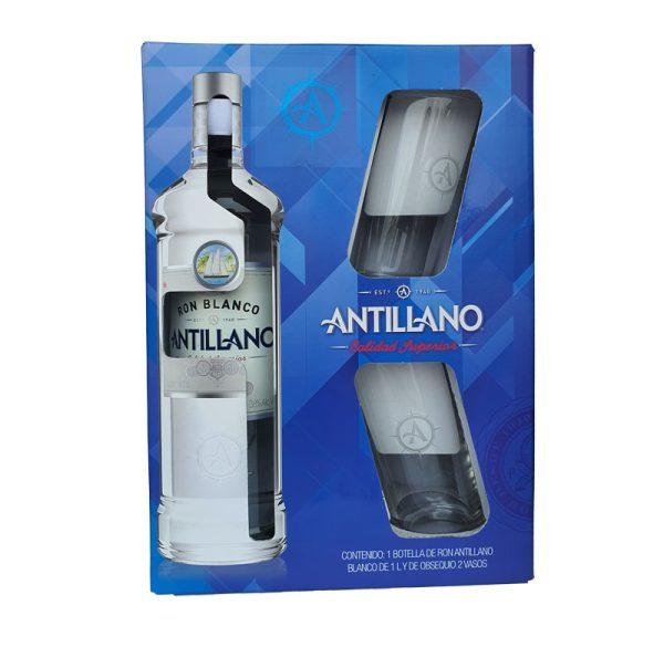 RON ANTILLANO BLANCO 1000 ml. + 2 VASOS