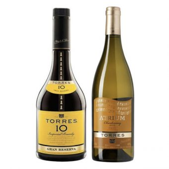 BRANDY TORRES 10 700 ml.+ VINO ATRIUM CHARDONNAY 750 ml.