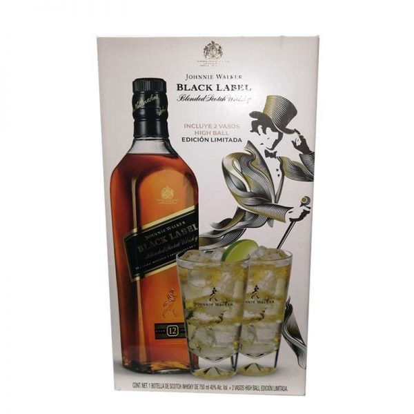 WHISKY JOHNNIE WALKER BLACK LABEL 750 ml. + VASO HIGHBALL