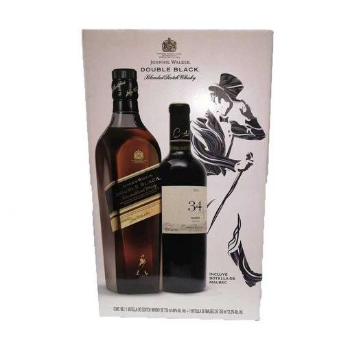 WHISKY JOHNNIE WALKER DOUBLE BLACK LABEL 750 ml. + VINO TINTO 34 MALBEC