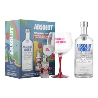 VODKA ABSOLUT 750 ml. + RASPBERRI 50 ml. + COPA