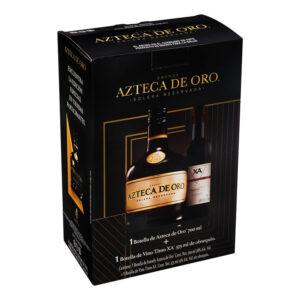 BRANDY AZTECA DE ORO 700 ml. + VINO TINTO X.A. 375 ml.