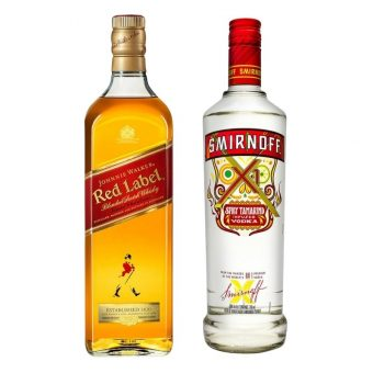 WHISKY JOHNNIE WALKER RED LABEL 700 ml. + VODKA SMIRNOFF X1 TAMARINDO 750 ml.