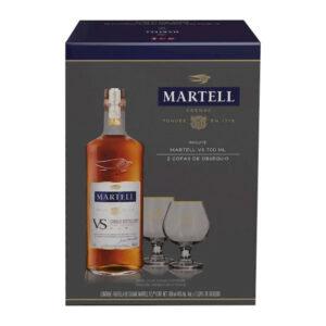 COGNAC MARTELL V.S. 700 ml. + 2 COPAS