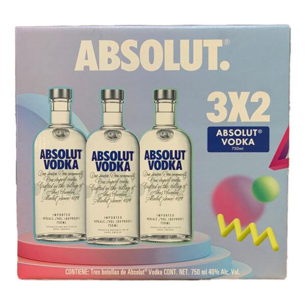 3x2 Vodka Absolut Original Azul 750 ml.