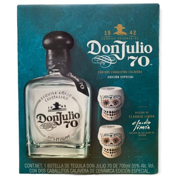 Tequila Don Julio 70 Añejo Cristalino 700 ml. + 2 Vasos Calavera