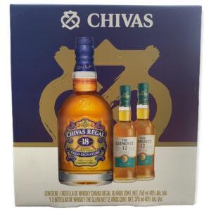 Whisky Chivas Regal 18 Años 750 ml. + 2 Glenlivet 12 Años 375 ml.